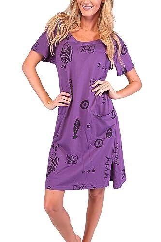 Ingear Beach Summer Shift Dress Short Cotton Tee Dress Cover up