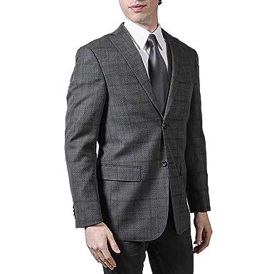 8e2086ade Prontomoda Men's 490332 Single Breasted 100% Luxury Lamb's Wool Classy  Plaid Blazer/Sport Coat