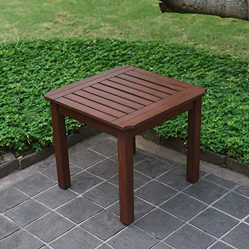 Cambridge Casual Solid Wood Como, Square Side Table, Brown