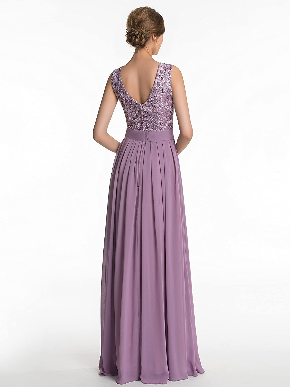 CLOCOLOR Women's Long A-line Lace Bridesmaids Dresses Maid of the Honor Dress Evening Party Gowns