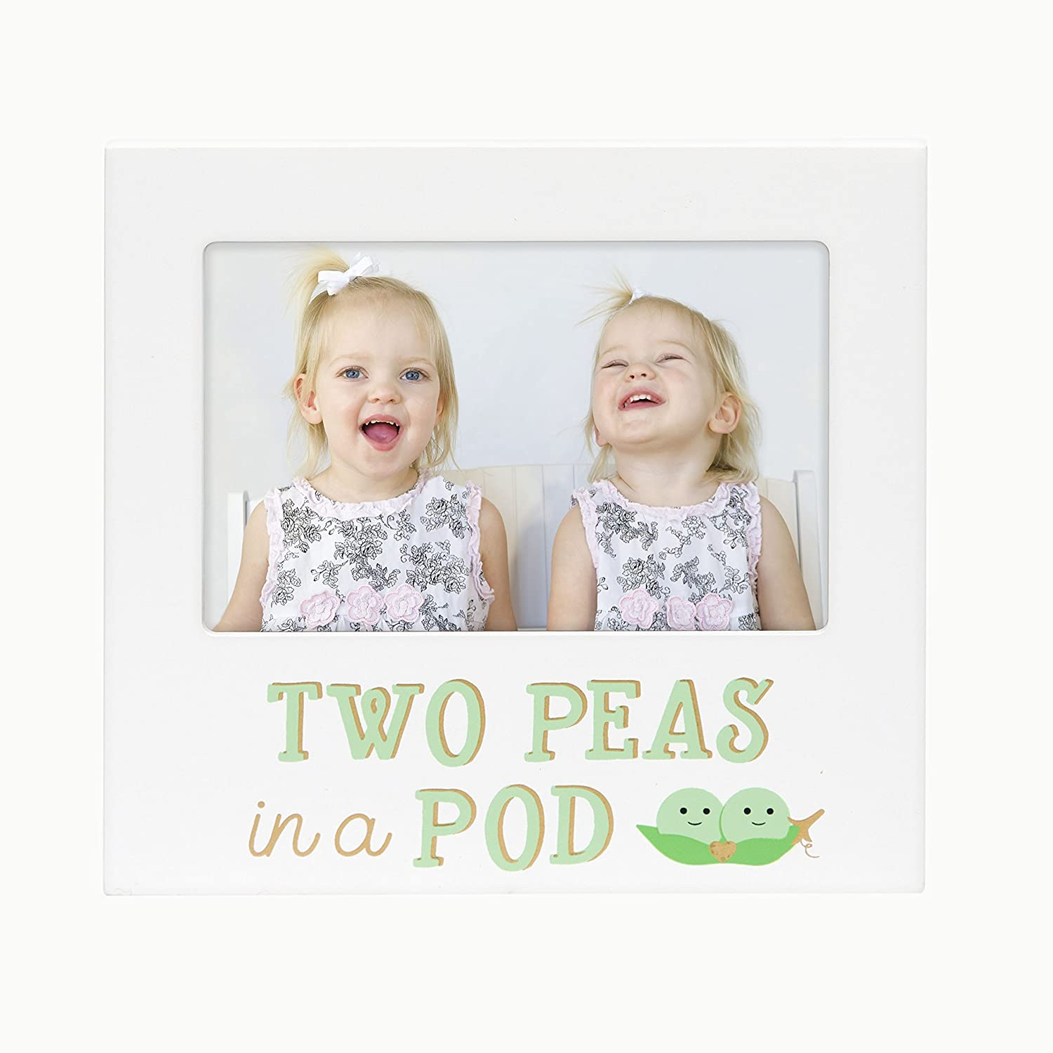 Pearhead Two Peas in A Pod, Siblings Sentiment Frame, Keepsake Photo Frame for Twins or Siblings, White 72074