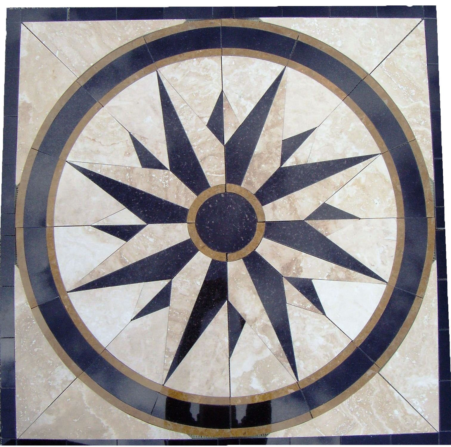 Tile Floor Medallion Marble Mosaic North Star Design 34'' by MedallionUS