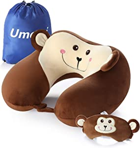 Memory Foam Animal Travel Pillow, Comfortable Neck Pillow with Cute Eye Mask Lightweight Traveling Pillow for Airplane, Car, Train, Bus and Home Use (Monkey)