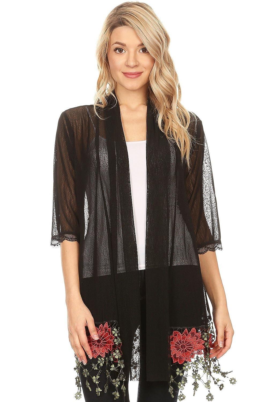 9fd43916b616 Modern Kiwi Rose Lace Sheer Mesh Kimono Cardigan Black One Size: Amazon.ca:  Clothing & Accessories