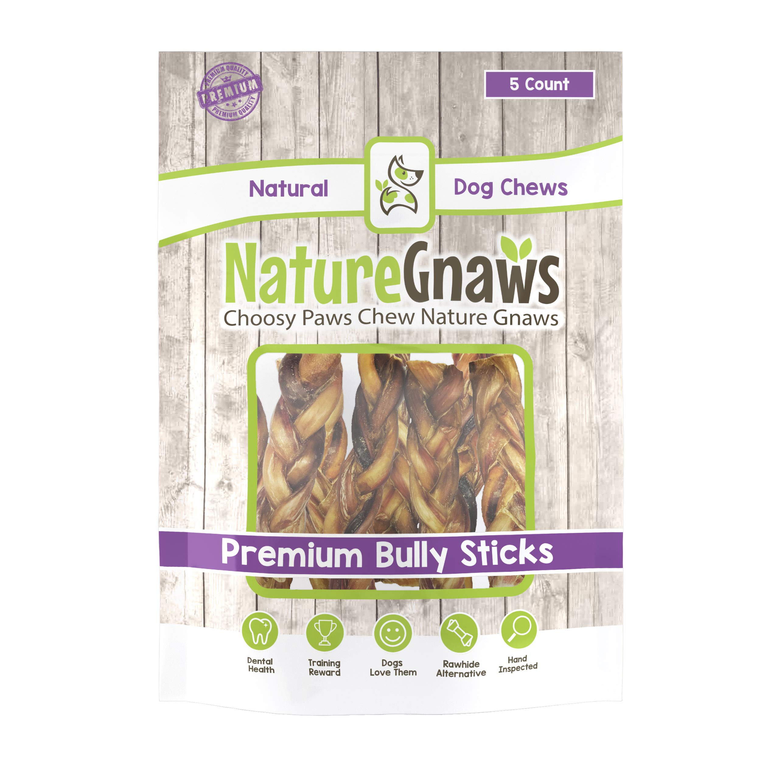 Nature Gnaws Braided Bully Sticks 5-6 inch (5 Pack) - 100% Natural Grass-Fed Beef Dog Chews by Nature Gnaws