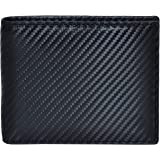 Leather Wallets for Men Slim Bifold RFID Blocking Front Pocket Wallets (Carbon Leather, Onyx)