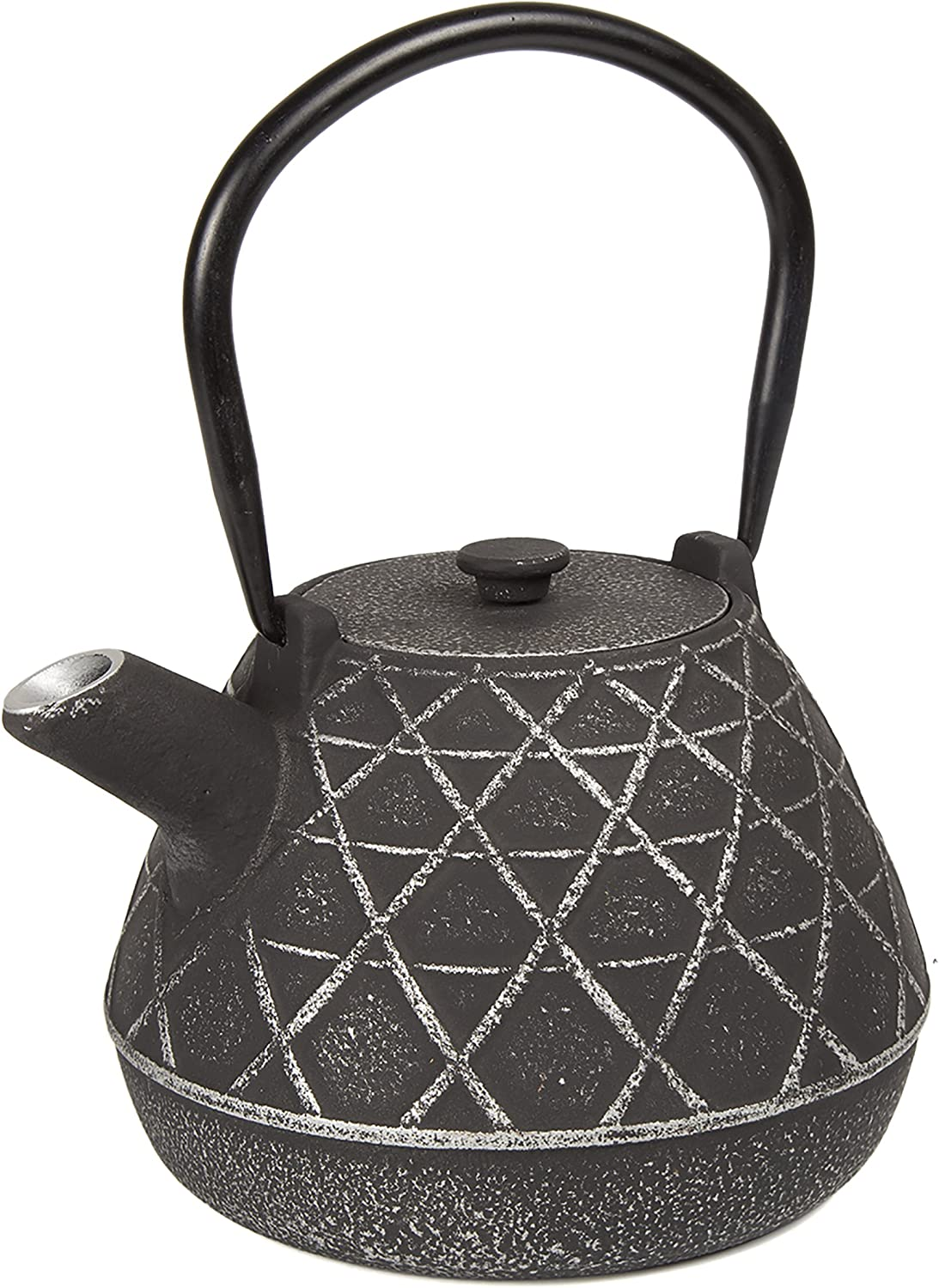 Creative Home Kyusu Cast Iron Tea Pot with Infuser Basket, 34 oz, Silver/Black