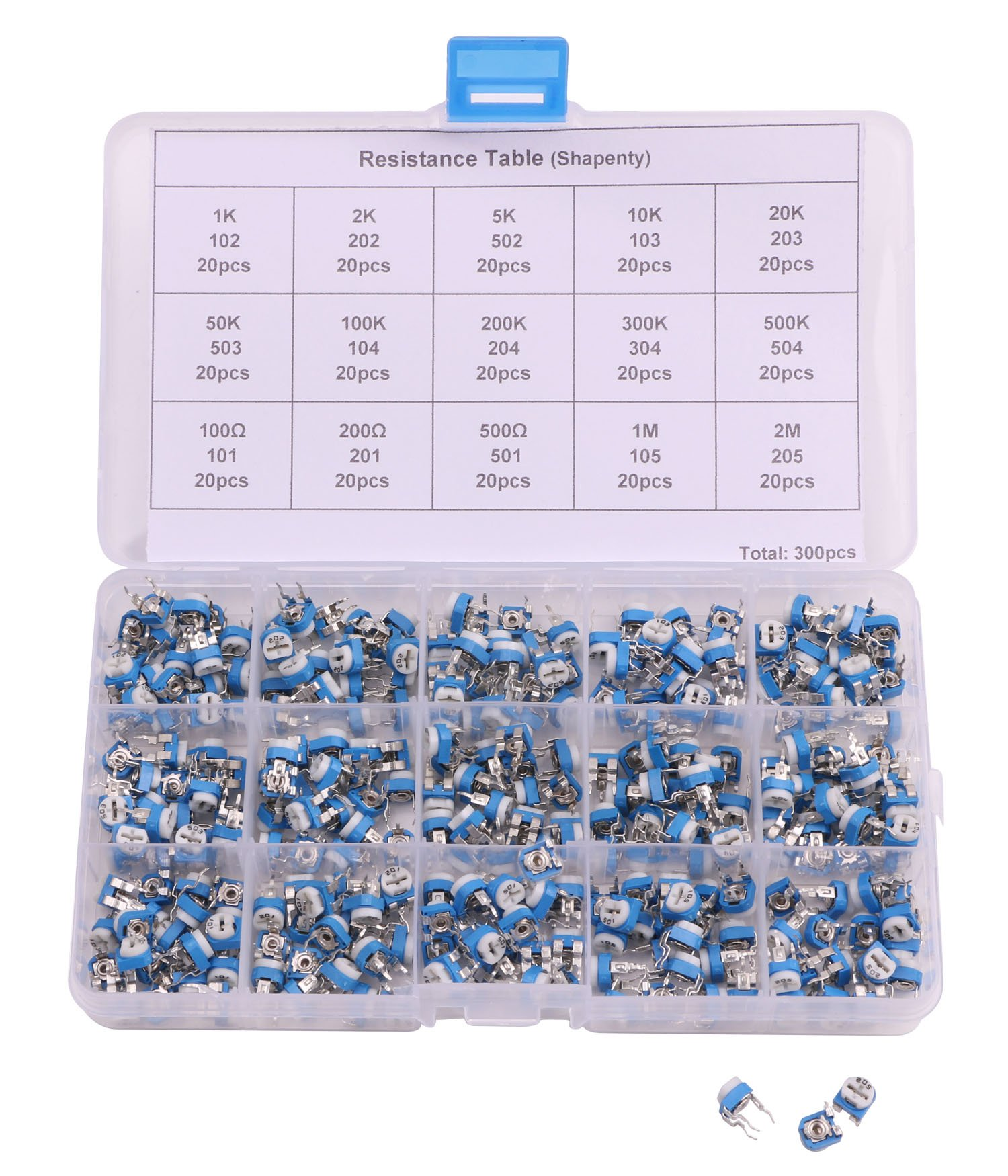 Shapenty 15 Values Blue White Horizontal Variable Resistor Adjustable Trimmer Potentiometer Trimming Trim Pot Resistor Assorted Kit, 300PCS