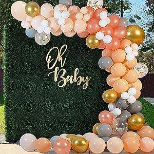Orange Balloon Garland Arch Kit, 125PCS Orange Blush Peach Gold Metallic Confetti Gray White Balloons for Birthday Engagement Bridal Wedding Baby Shower Thanksgiving Bachelorette Party Decorations
