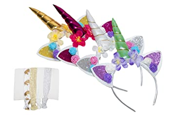 Amazon.com   Unicorn Horn Headbands and Unicorn Hair Ties for Girls Party  be116b288cf1