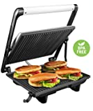 "Aicok Panini Press Grill, Panini Maker, Sandwich Maker with 11.6"" x 10.4"" Nonstick Plates, Cafe-Style Floating Lid, Removable Drip Tray, 1200W, Silver"