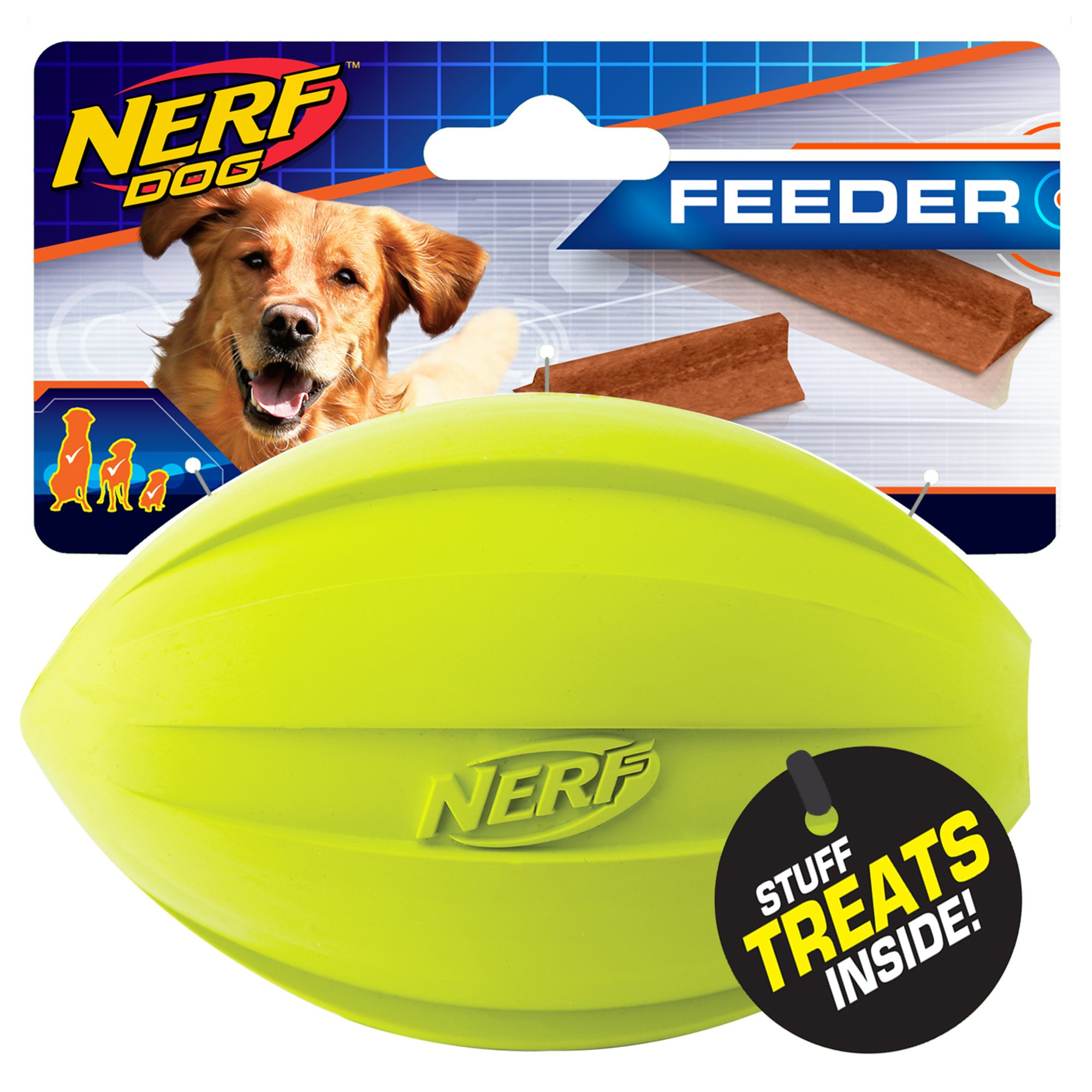 Nerf Dog Medium to Large Treat Feeder Football (2-Pack) Green and Blue Rubber Dog Toy