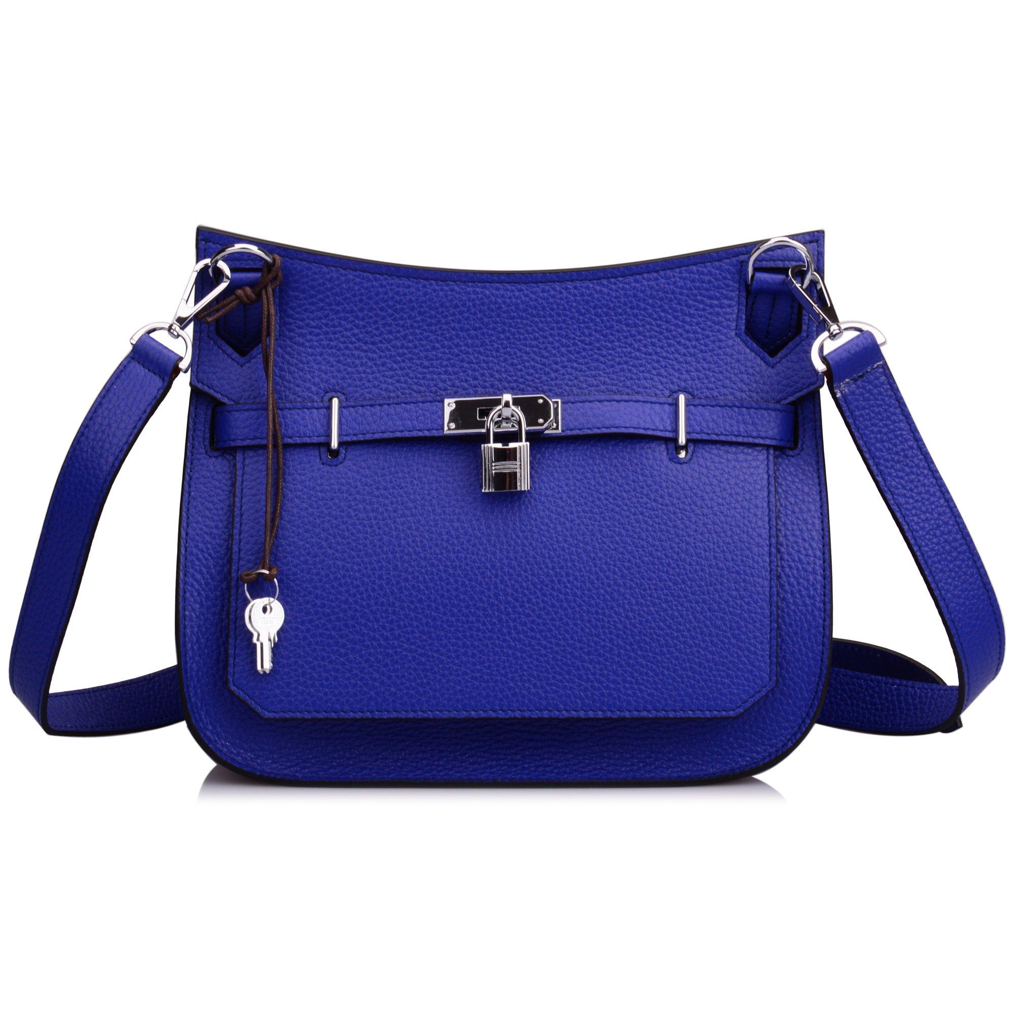 Ainifeel Women's Padlock Genuine Leather Messenger Bag Cross Body Bag Satchel Purse (Blue)