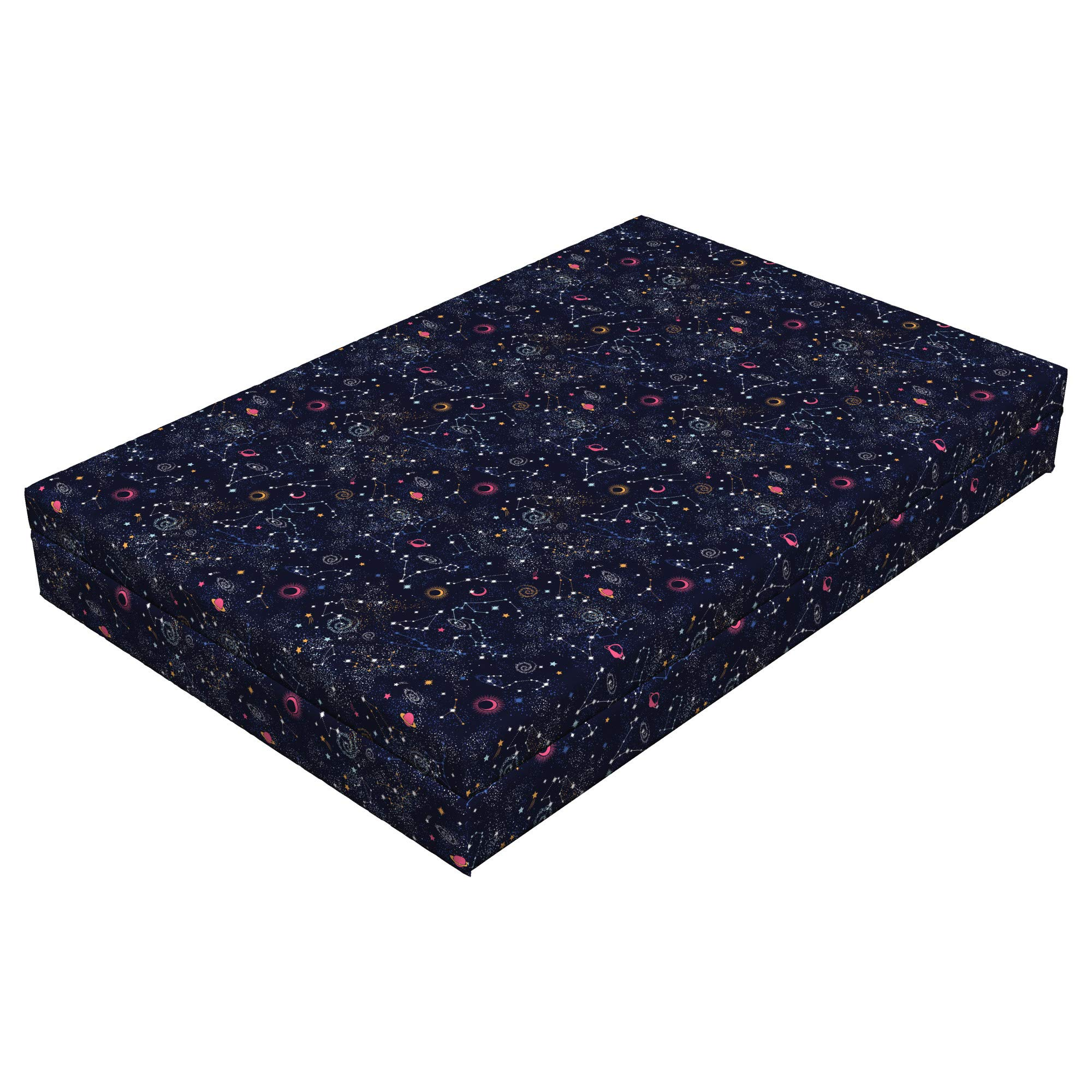 Lunarable Constellation Dog Bed, Star Clusters Galaxies and Planets Astrology Themed Abstract Illustration, Durable Washable Mat with Decorative Fabric Cover, 48'' x 32'' x 6'', Multicolor by Lunarable (Image #1)