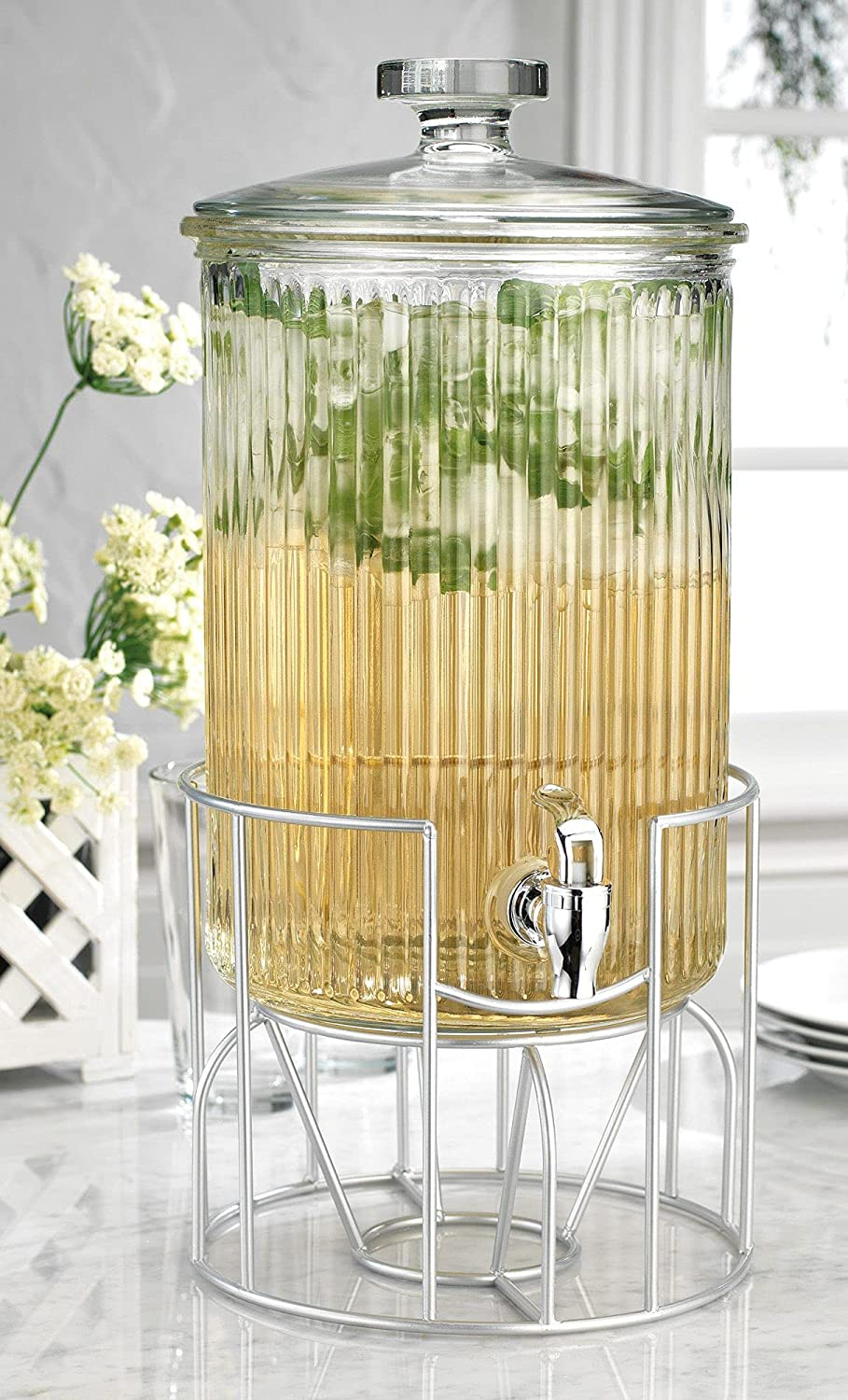 Modern Ribbed 2 Gallon Ice Cold Clear Glass Beverage Drink Dispenser With Lid & Metal Stand Wide Mouth -For Easy Filling- For Outdoor, Party & Daily Use