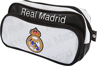 Real Madrid FC - Estuche oficial para lapiceros y bolígrafos Modelo Twin Pocket para niños (Talla Única/Blanco/Negro): Amazon.es: Ropa y accesorios