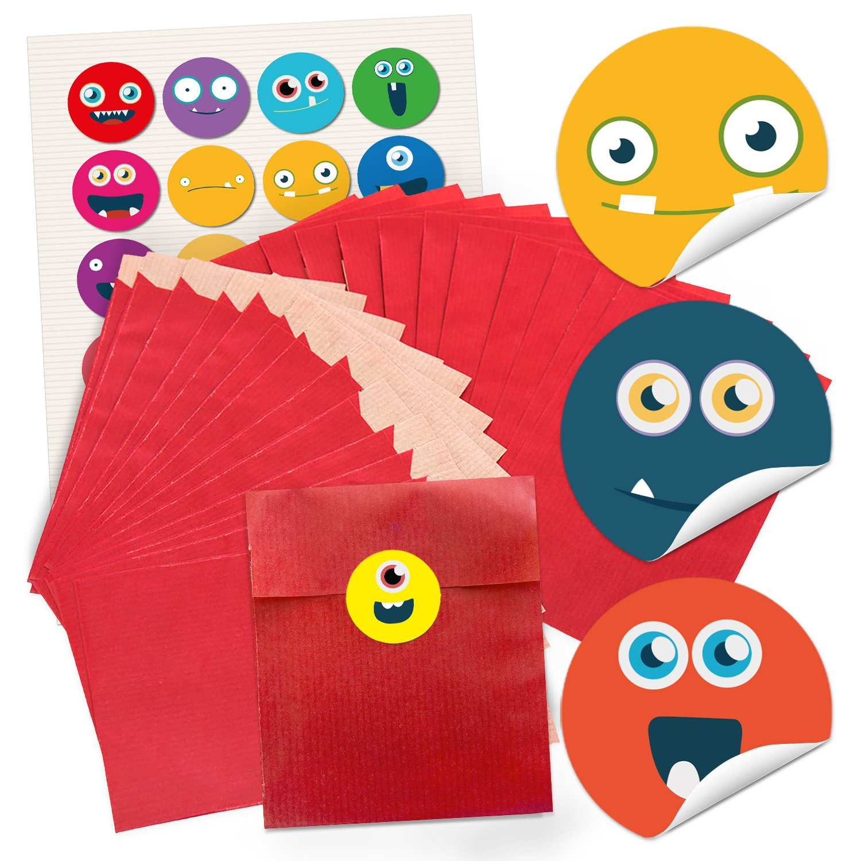 48petits sacs papier rouges autocollants pour emballage de cadeaux (13x 18cm) et 48ronds multicolores drôles de visages Smiley Faces Emoji Stickers Bleu Rouge Jaune Vert