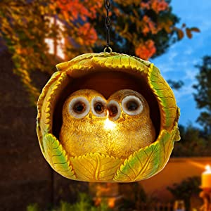 Adroiteet 5.5 Inches Hanging Solar Lights Hand-Painted Resin Owl Hanging Decor Outdoor Solar Landscape Lamp for Garden Yard Balcony