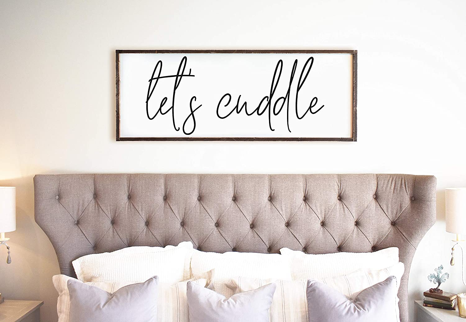 CELYCASY for Her Let's Cuddle Wedding Gift Living Room Wall Decor Modern Farmhouse Decor Let's Snuggle Over The Bed