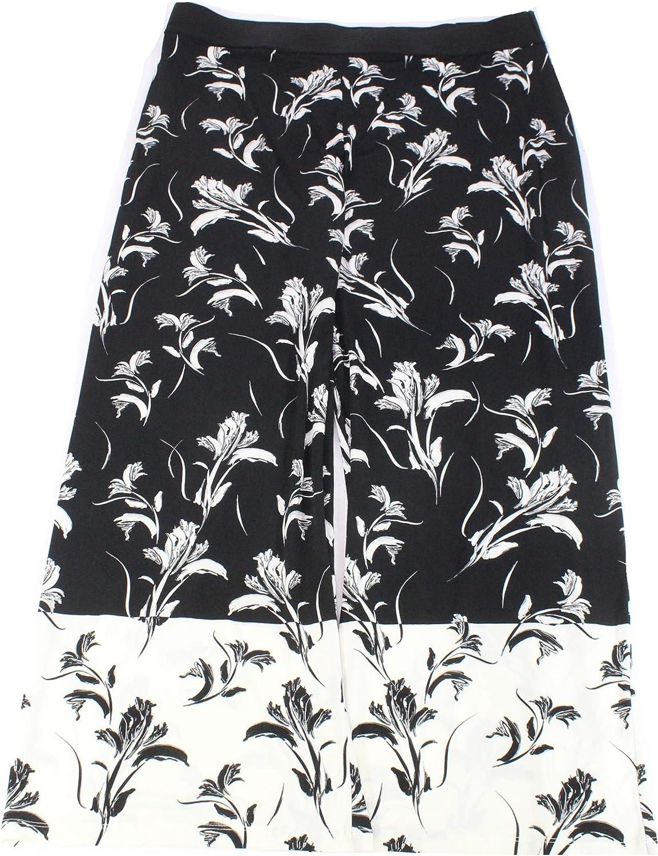 Alfani Plus Size Palm Printed Palazzo Pants in Deep Black Floral Dash Print
