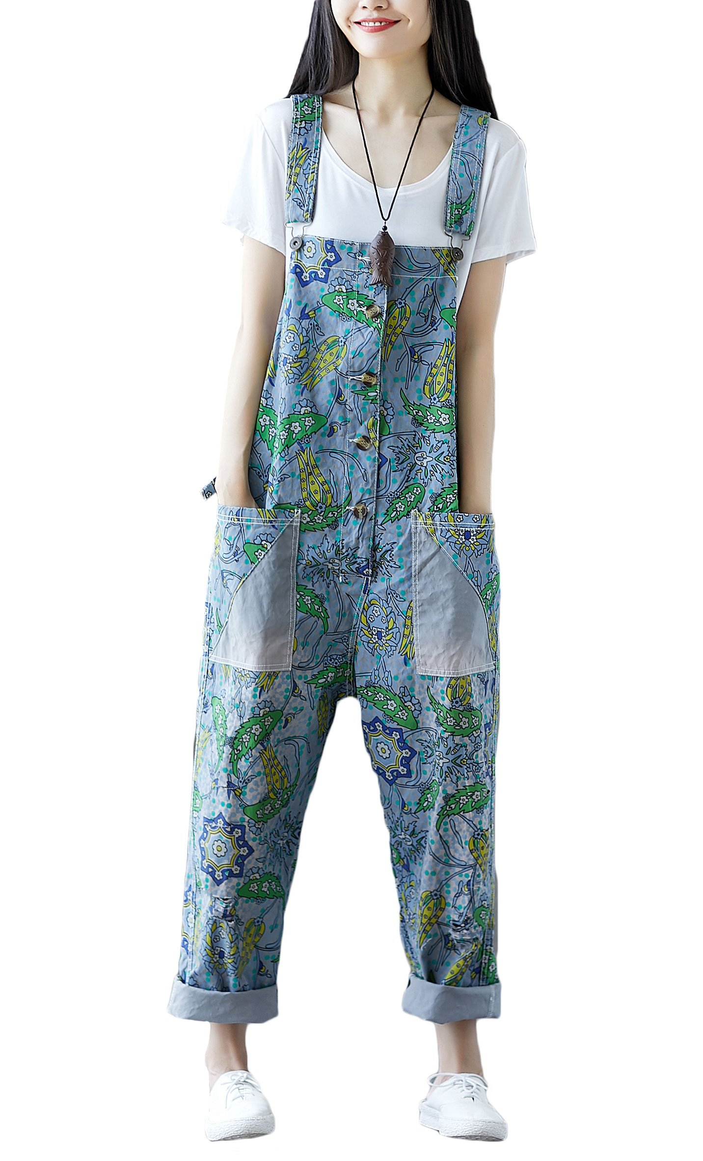 Soojun Women's Floral Pattern Suspender Trousers Bib Overalls with Pockets, Style 2 Blue