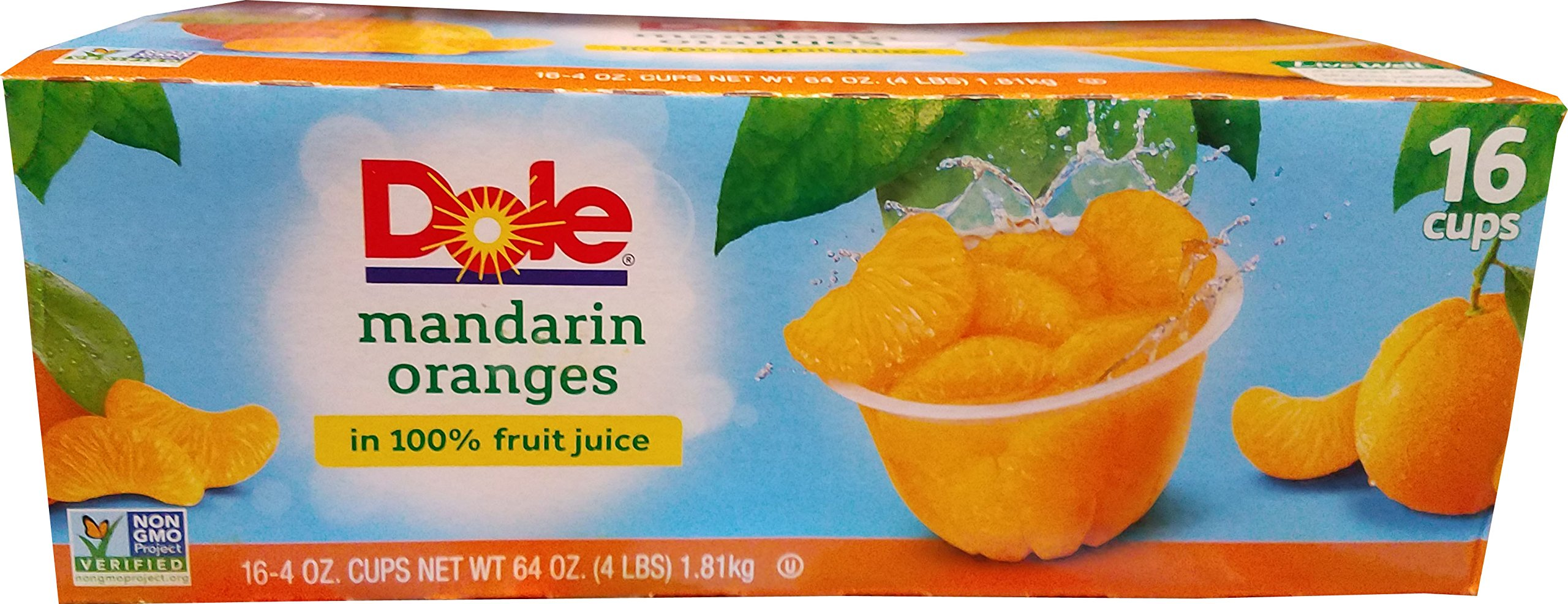 Dole Mandarin Oranges Fruit Cups - 16 x 4 Ounce - 64 Ounce by Dole