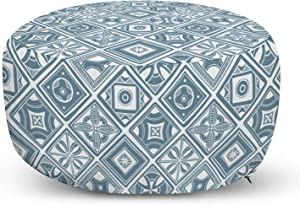 Lunarable Abstract Ottoman Pouf, Monochrome Mediterranean Influence Vintage Style Motifs in Diagonal Squares, Decorative Soft Foot Rest with Removable Cover Living Room and Bedroom, Blue Grey