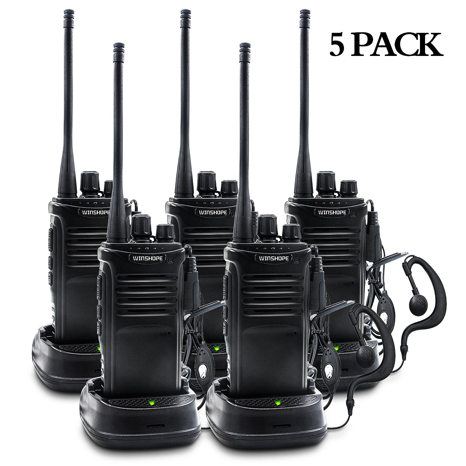 Winshope Walkie Talkies Long Range With Earpiece Mic Handheld VHF/UHF Radio Rechargeable 5W Two Way Radios 16 Channels Comunicacion Two Way Radio With Antenna Microphone Headsets(5 Pack)