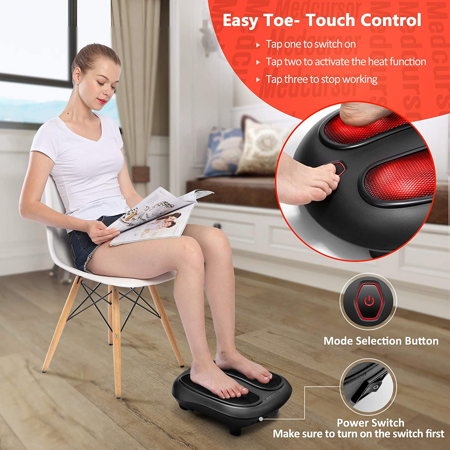 Amazon.com: Medcursor Shiatsu Foot Massager with Built-in Soothing Heat  Function, Electric Deep Kneading Foot Massage Machine, Muscle Pain Relief,  Home and Office Use, Black: Health & Personal Care