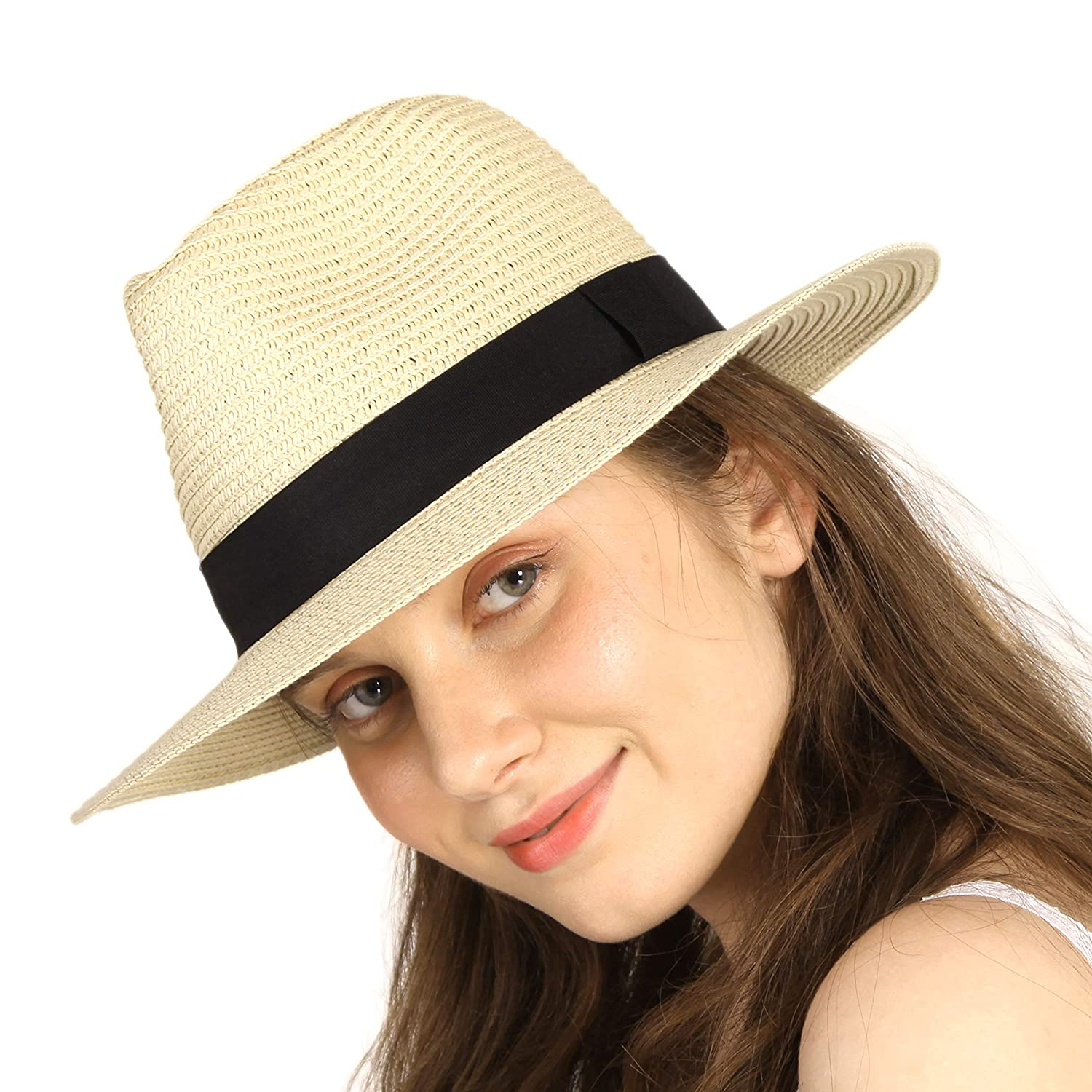 9fdf5c8f7 Straw Hats for Women Men Panama Hat Wide Brim UV Protection Roll Up UPF50+  Beach Fedora Sun Hat Packable