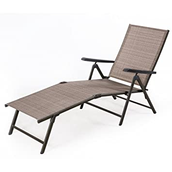Cloud Mountain Outdoor Recliner Lounge Satcking Chair Height Adjustable  Chair Powder Coated Pool Chaise Patio Textilene