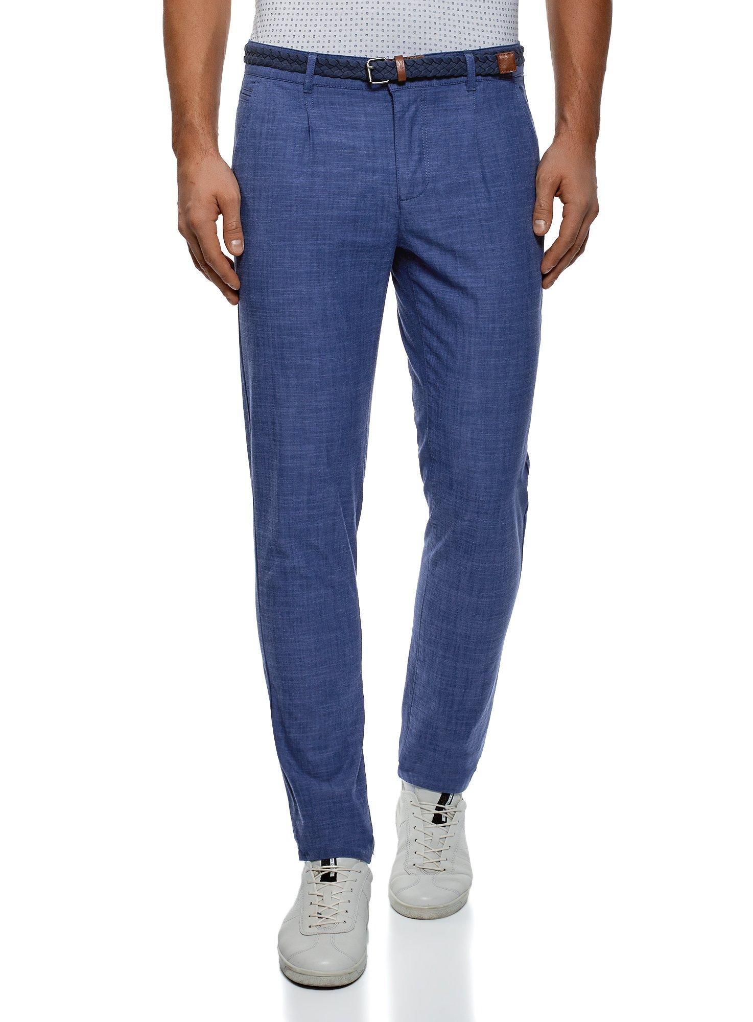 oodji Ultra Men's Cotton Chino Pants, Blue, US 34 / EU 46 / L