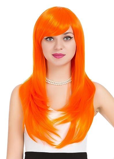 Amazon.com   ZUUC Women s Long Streight Full Head Wig (Orange ... 967cb0a56d