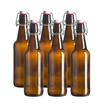 Botella de cerveza de vidrio – 16 oz – 6 unidades – ámbar