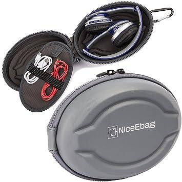 niceebag auriculares funda bolsa de almacenamiento de forma de elipse para auriculares en auriculares inalámbricos auriculares