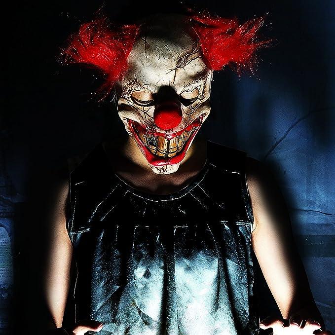 Máscara de payaso asesino con el pelo rojo, para Halloween: Amazon.es: Hogar