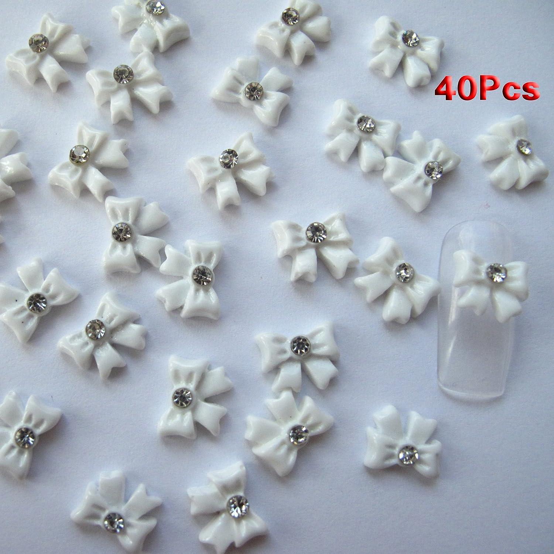 Amazon.com : Nail Art 3d 40 Piece White BOW TIE /RHINESTONE for ...