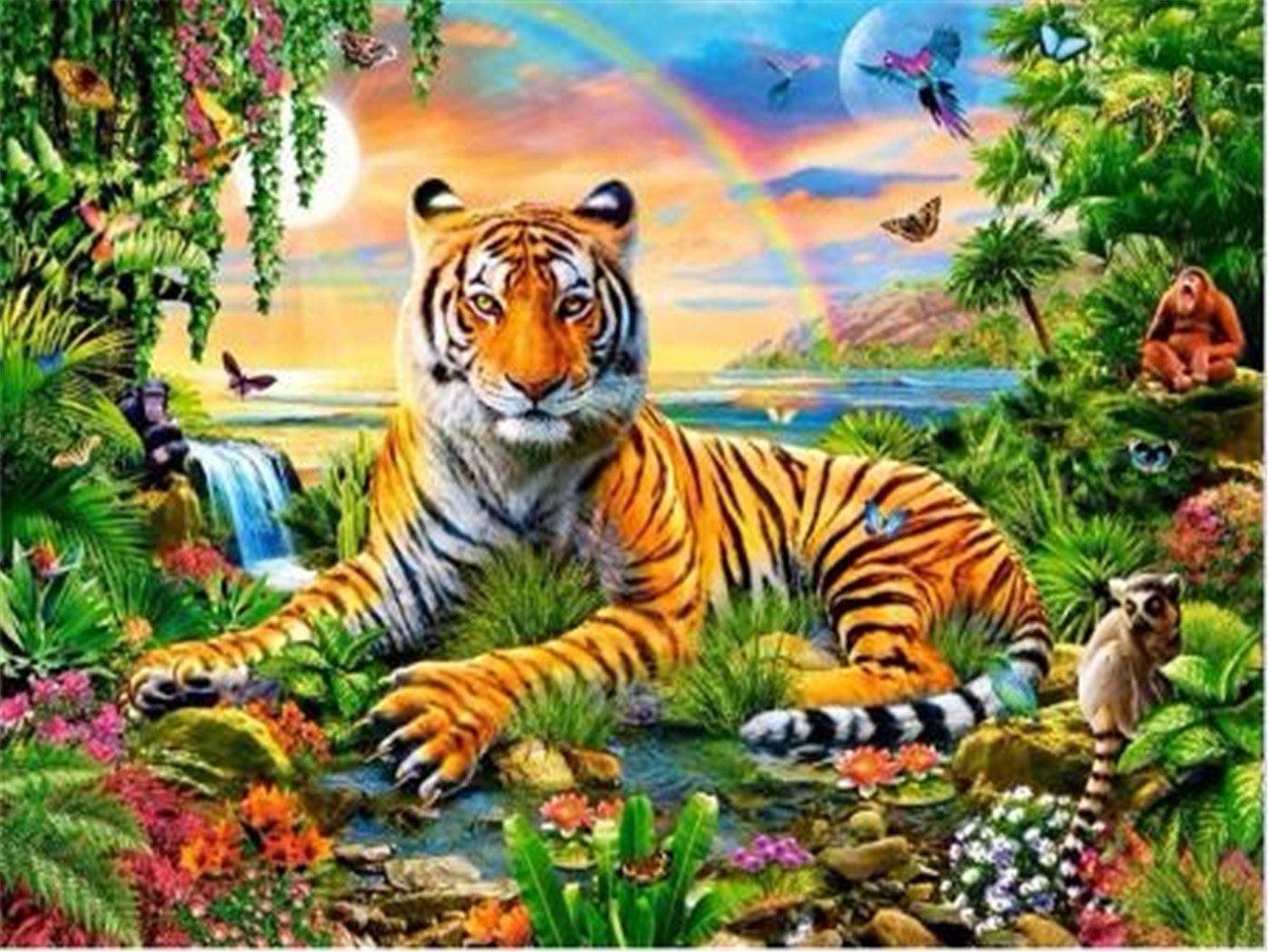 LIPHISFUN 5D Diy Diamond Painting Tiger Forest Rainbow Embroidery Full Square Diamond Cross Stitch Rhinestone Mosaic Painting Decor(30x40cm)