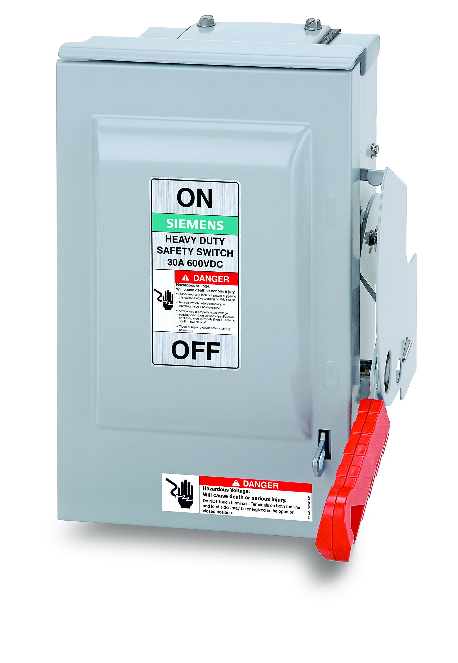 Siemens US2:HNF361RPV 30-Amp 3 Pole 600-volt DC PV 3 Wire N Fused Heavy Duty Safety Switches by SIEMENS