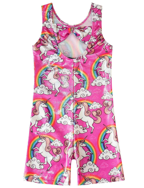 Gymnastics Leotards for Girls Sparkly Unicorn Biketard Outfits Activewear Quick Dry 4