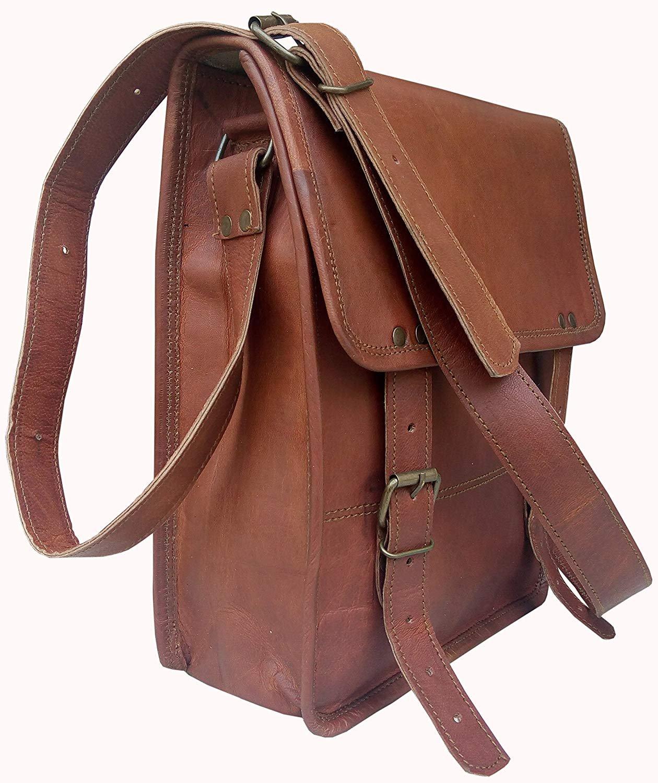 11 Inch Leather Vintage Crossbody Messenger Satchel Bag Gift Men Women ~ Business Work Briefcase Laptop Carry IPad Book by Handmadecraft (Image #2)