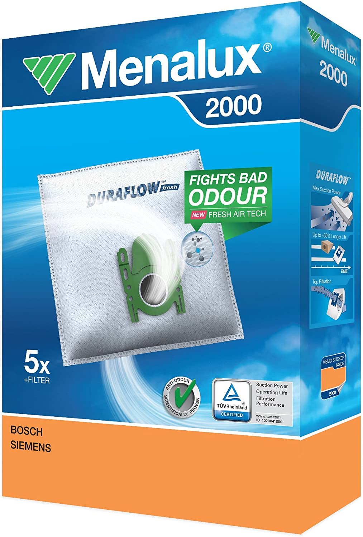 Menalux 2000 - Pack de 5 bolsas sintéticas y 1 filtro para aspiradores Bosch GL-20, GL-30, GL-40, Move y Sphera, Siemens Z 3.0, Super XS, VS5 y Ufesa AC: Amazon.es: Hogar