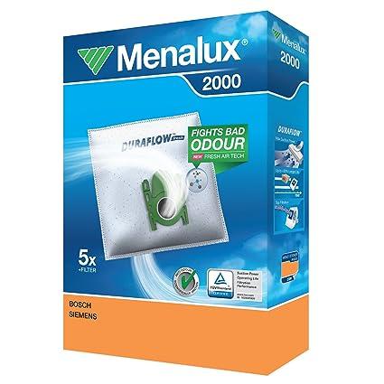 Menalux 2000 Pack con 5 Bolsas y 1 Filtro para Aspiradores Bosch y Siemens