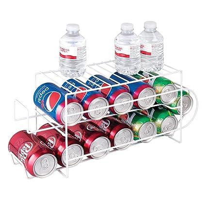 mDesign Organizador de frigorífico para alimentos – Moderno organizador de cocina para latas de bebida y