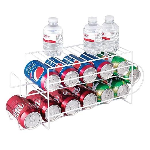 mDesign Organizador de frigorífico para alimentos - Moderno organizador de cocina para latas de bebida y conservas - Soporte y dispensador de latas ...