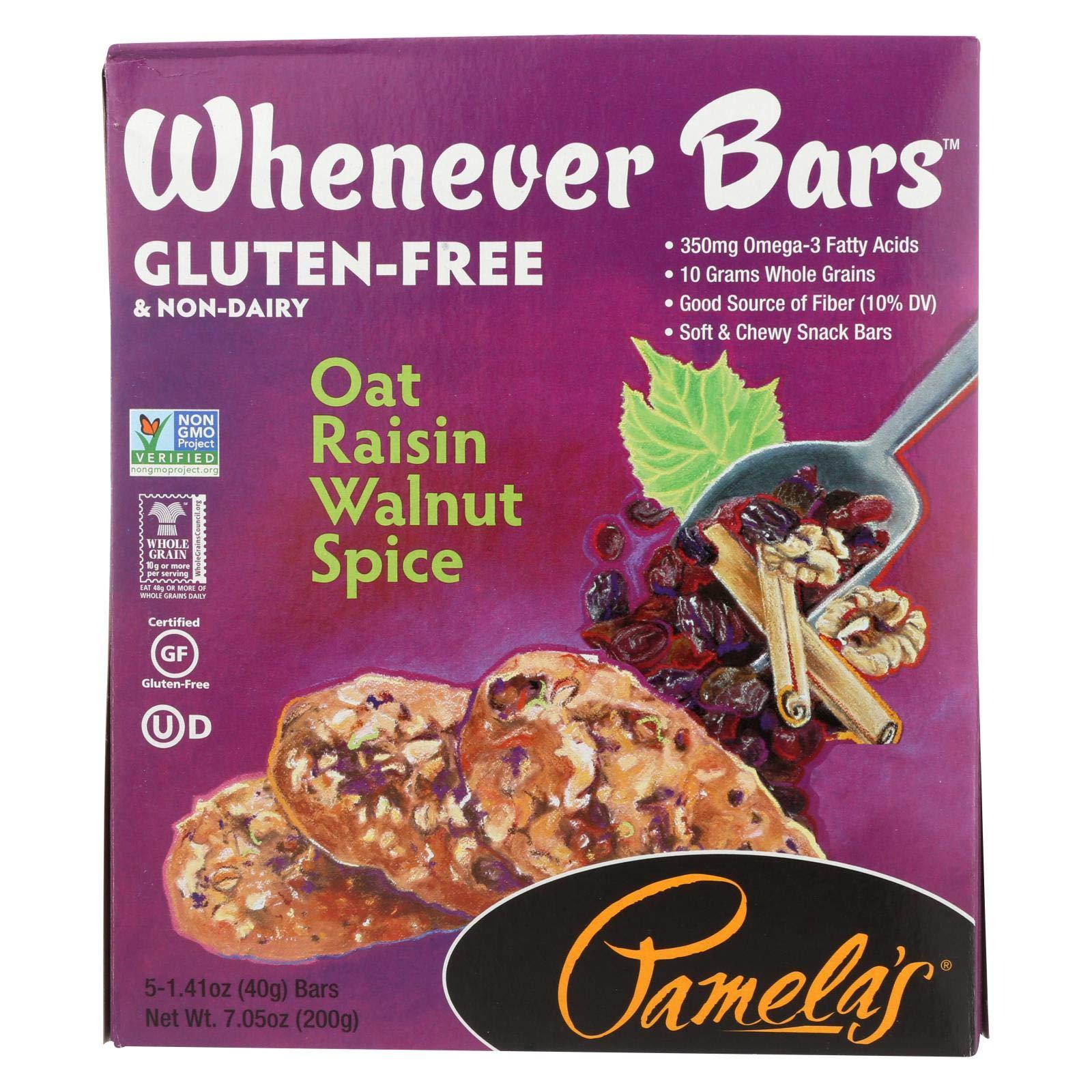 Pamela's Products Oat Spice Whenever Bars - Raisin Walnut - Case of 6 - 1.41 oz.