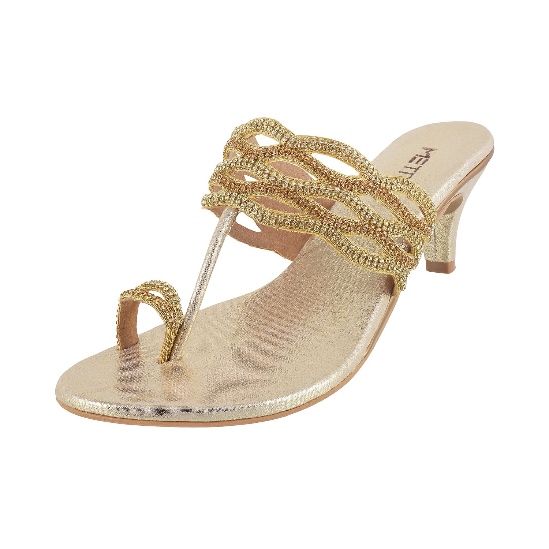 Metro Women's Gold Fashion Sandals-7 UK