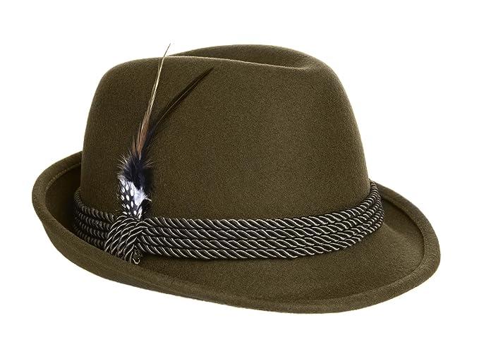 a295461cb58f7 Amazon.com  Alpine Holiday Oktoberfest Wool Bavarian Fedora Hat ...