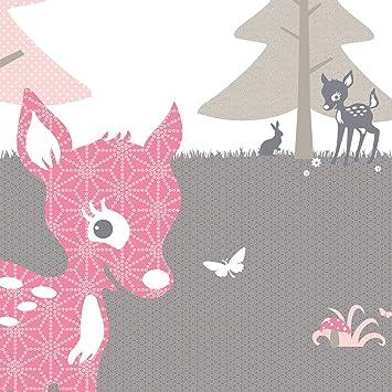 Anna Wand Tapetenwandbild Rehlein Rosa Taupe Tapete Kinderzimmer