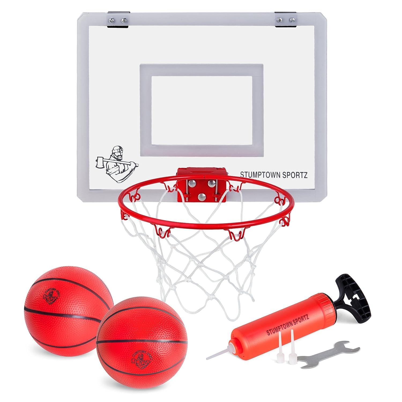 Stumptown Sportz Mini Basketball Hoop with Breakaway Rim Includes 2 Mini Basketballs Hand Pump with 3 Inflation Needles Designed for Over The Door use